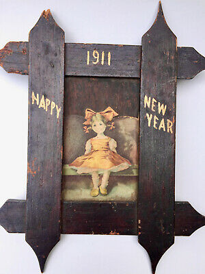 Vintage 1911 Arts and Crafts Framed New Years Greeting  Price REDUCED