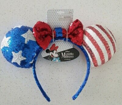 Disney Parks Brand New Stars and Stripes 4th of July Minnie Mouse Ears Headband