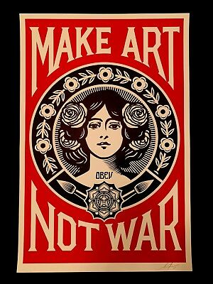 SIGNED Shepard Fairey MAKE ART NOT WAR Print OBEY Giant Large Format 24X36