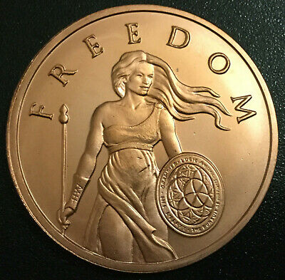 SILVER SHIELD 1 oz 99.9% Pure Copper Round Standing Freedom