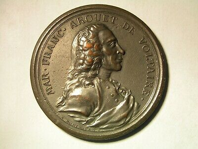 Mar Franc Arouet de Voltaire, silver plated brass antique medal.