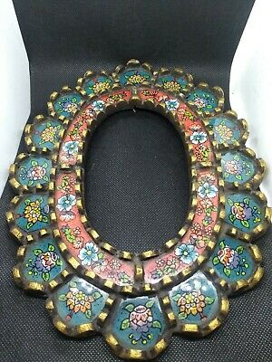 Antique Peruvian Wood Glass Reverse Painted Frame 8x10 Green Red Gold Flowers