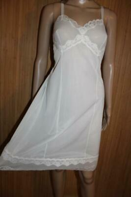 Vtg 50S White Silky Soft Nylon & Pleated Full Slip, Petticoat Size L