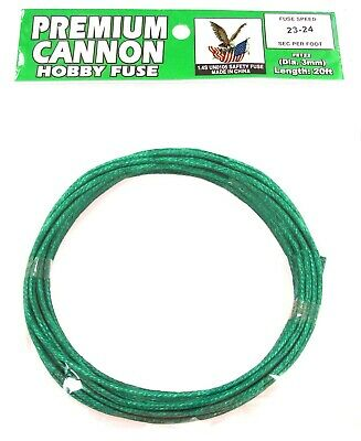 GREEN 3mm hobby safety fuse PREMIUM CANNON wick 23 seconds per foot