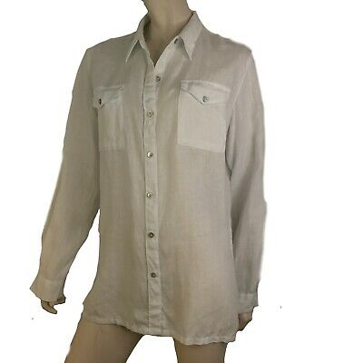 fdfae736 Chicos 1 Lino Top Blouse Womens Small Linen White Button Long Sleeve Shirt  Tunic