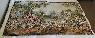 "Antique Original Large French 18th c. Pastoral Tapestry 71"" x 38"" Wall Hanging"