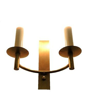 Vintage Art Deco Brass Wall Light Electric Candle Sconce Uplight