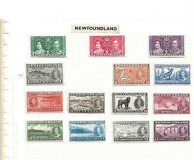 NEWFOUNDLAND (57) 1937 X 14 mounted mint SEE SCAN 14 STAMPS
