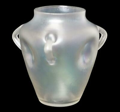 "Antique RARE STEUBEN Shape 2767 Verre de Soie Three Handled 4"" Tall Glass Vase"