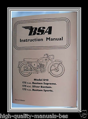 175cc BSA BANTAM SUPREME SILVER & SPORTS D10 OWNERS INSTRUCTION MANUAL