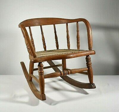 Antique Child's Bentwood Rocking Chair with Caned Seat