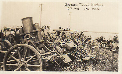 Original WWI Photo CAPTURED GERMAN M1917 250mm TRENCH MORTARS at APG 16