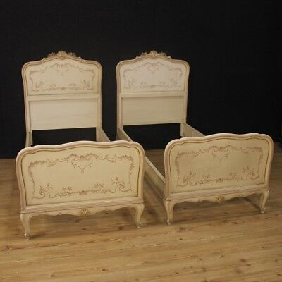 Pair of Bed Lacquered Furniture Venetians Antique Style Painted Wood Bedroom 900
