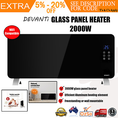 Devanti 2000W Electric Glass Panel Heater Portable Convection Heat Wall WiFi