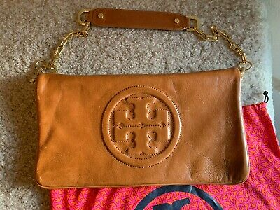 96f9df32aa Authentic Tory Burch Bombe Reva Clutch Tan Leather and Gold Hardware