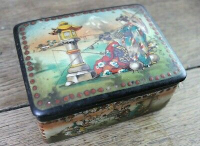 Antique Oriental Handpainted Ceramic Trinket Box - Japanese Circa 1800