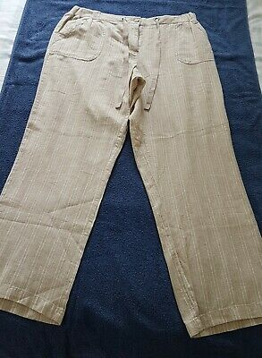 """A Lovely Pair Of Maine  Cream Stripped Linen Trousers Size 16(s) - I Leg 29 """" In"""