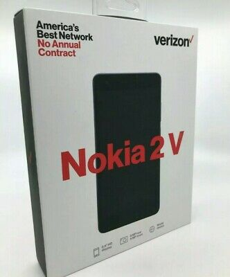New Verizon Wireless Nokia 2V Prepaid Smartphone Black Free Shipping!