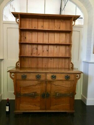 Antique Late 19thc Arts and Crafts Oak and Pine Dresser by Jones & Higgins