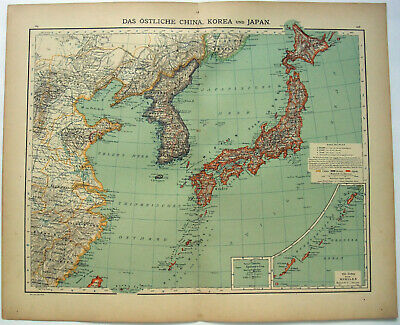 Eastern China, Korea & Japan - Original 1900 Map by Carl Wolf. Tsin-Tau. Antique