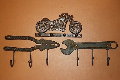 (3) Riding High Vintage Look Motorcycle Decor Rustic Cast Iron Wall Coat Hooks