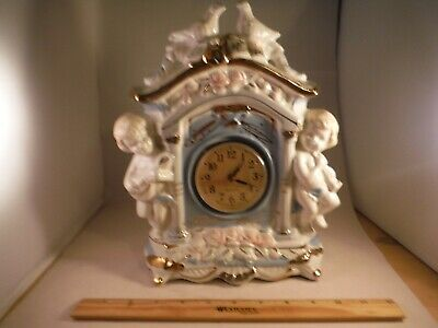 Vintage Cherubs & Doves & Roses China Shelf Clock