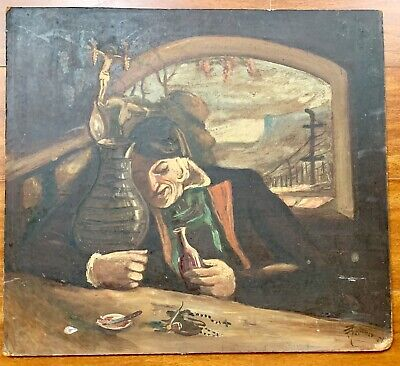 Stunning Antique French Provincial Original PAINTING SIGNED Sailor Tavern Scene