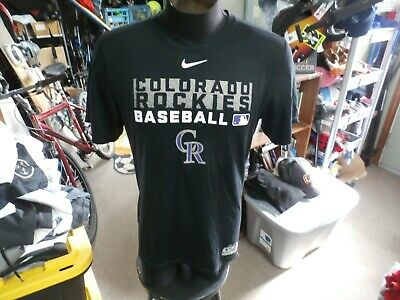 Colorado Rockies black Nike Dri-Fit shirt size Small 100% polyester #27436