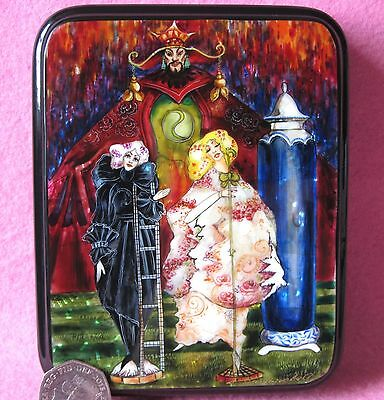 RUSSIAN LACQUER SHELL Box Andersen FAIRY TALE Shepherdess and Sweep Harry Clarke