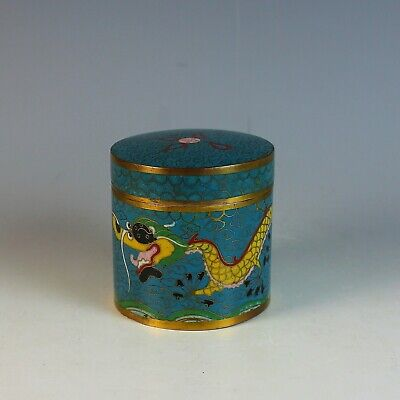 Old Antique Chinese Cloisonne Round Box with Dragon