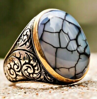 Turkish Jewelry 925 Sterling Silver Natural Agate Aqeeq Mens Mans Ring ALL SİZE