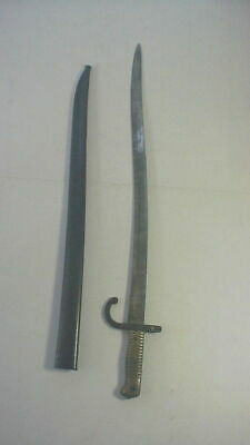 Antique 1873 FRENCH SWORD BAYONET in STEEL SCABBARD with MATCHING NUMBERS