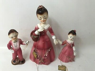 Porcelain Girl Boy Figurine Arnart Creation Japan Family Ties Lace Rare vtg W9