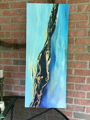 Large Blue Gold Abstract Original Paintings on Canvas Original Art