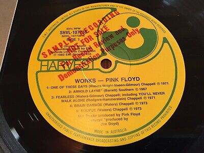 "PINK FLOYD...THE WORKS - - Rare 1983 Australian PROMO / SAMPLE 12"" LP...EXC"