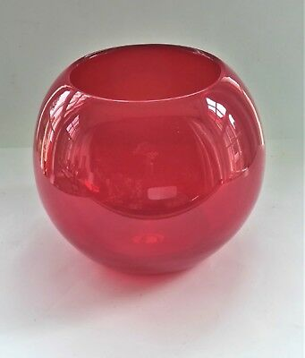 Mid Century Fabulous Large Solid Red Art Glass Round Vase.punt Mark.
