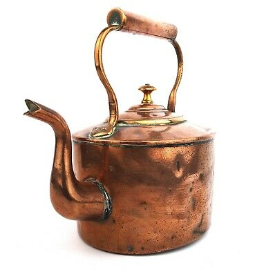 Antique Victorian Copper Kettle Oval Swan Neck Dovetailed Seams 3.5 Pints