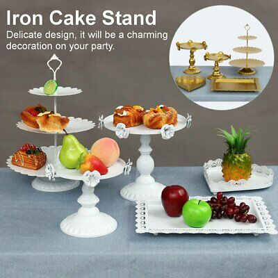 5Pcs/Set Iron Cake Stand Holder Cupcake Birthday Wedding Party Display Plate