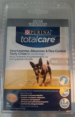 purina total care heartwormer allwormer & flea control tasty chew for small dogs