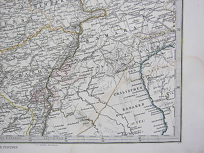 1870 Dated Map ~ Central Russia A. Petermann ~ Adolf Stieler Hand Coloured