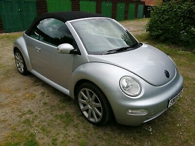 VW Beetle convertible 05 plate silver with manual roof. New tyres, MOT May 2020