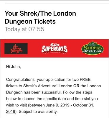 Shrek experience or London Dungeon 2 free entry tickets booking code
