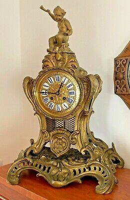 19th Century Antique French Ormolu Lacquered Brass Mantel Clock EP Lepool