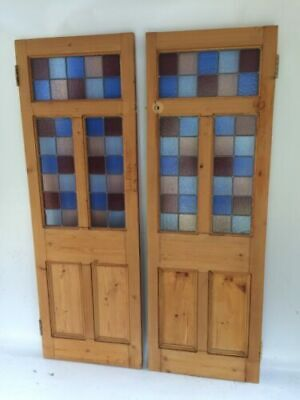 2 English stained glass internal (cupboard?) doors R937. DELIVERY OPTIONS!