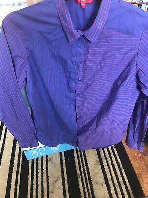 Next Ladies Royal Blue With Horizontal & Vertical Red Stripes Blouse. Size 10