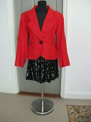 0794cacd2e7 VTG 1970's Yves Saint Laurent Rive Gauche Red Linen Jacket French 44 UK 14  / 16