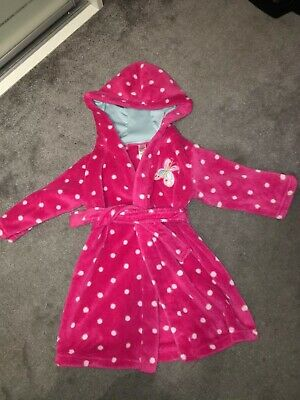 Girls Pink Dressing Gown Size 12-18 Months In Great Condition