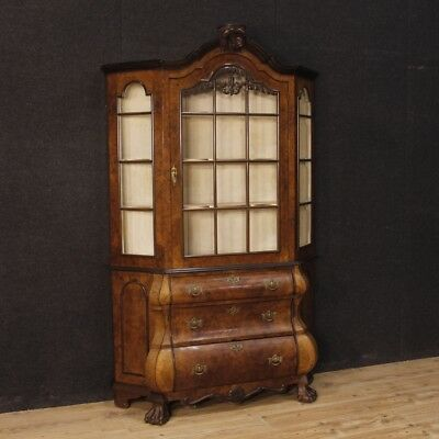 Showcase Display Cabinet Walnut Wooden Mobile Bookcase Dutch Antique Style 900