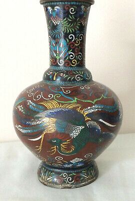 Antique Chinese Cloisonne Vase With Phoenix And Bats