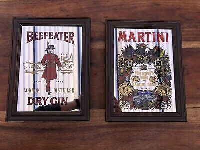 Martini and Beefeater Dry Gin | Pair of Advertising Mirrors | 1970's